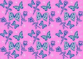 butterflies and flowers, vector seamless pattern, repeating pattern