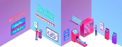 hopping center, terminal payment, smart payment , technology vector