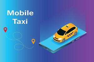 Isometric vector mobile illustration, taxi smartphone application, taxi on smartphone, mobile taxi app