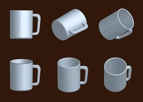 vector white mug collection, set of mugs in different position