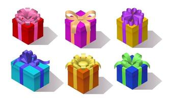 vector, set of gift boxes, isometric, 3d rendering, vector