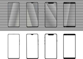 Mobile phone mock up, collection of different smartphones vector