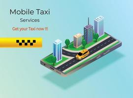 Vector isometric illustration taxi in a city on smartphone,taxi in the city, taxi on the road on mobile, smartphone app
