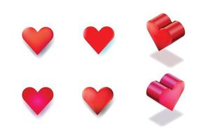 vector Isolated hearts on white background with shades, 4 flat heart and 2 isometric hearts