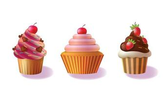 Vector set of cupcakes isolated on white background, decorative cakes, decorated cupcakes illustration