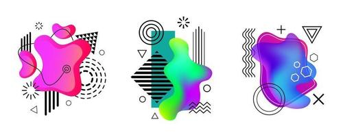 cover design elements, with colorful liquid amoeba and memphis design elements, blue, pink, green purple colors, zigzags, waves, squares, triangles, for your design as banners, flyers, brochure vector