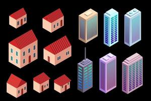 vector isometric houses and skyscrapers