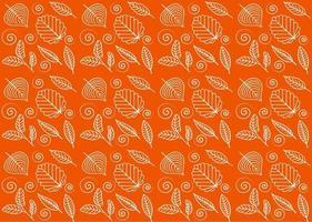 Vector autumn seamless pattern, leaves on orange background