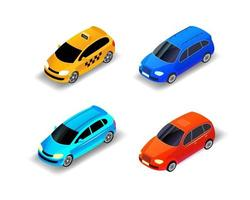 Vector cars isometric illustration, different cars isolated