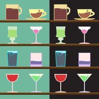 vector, conjunto, de, copas, tazas, vidrio vector