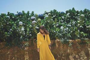 Hipster asian woman in Hydrangea garden background photo