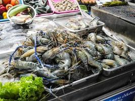 Fresh river prawn from the fish market, Seafood on ice at Night Market in Hua Hin, Thailand photo