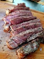 Grilled sliced beef steak, Barbecue dry-aged wagyu entrecote beef steak photo