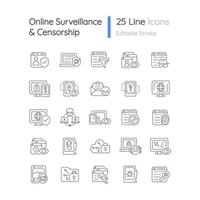Online surveillance and censorship linear icons set vector