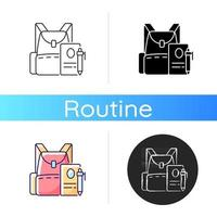 Backpack icon. Preparing for school classes vector