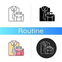 icono de ropa formal y maletín vector