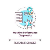 Machine performance diagnostics concept icon vector