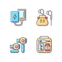 Traveller luggage RGB color icons set vector