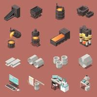 Metal Industry Isometric Icons Set Vector Illustration