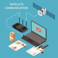 Ilustración de vector de composición isométrica de telecomunicaciones