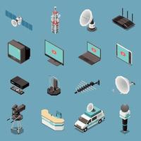 Conjunto de iconos isométricos de telecomunicaciones ilustración vectorial vector