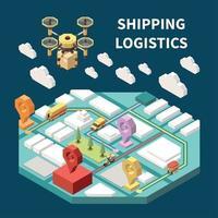 Logistics Isometric Composition Vector Illustration