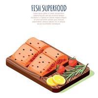 Fish Superfood Isometric Design Concept Vector Illustration