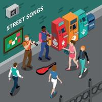 Musicians Isometric Composition Vector Illustration