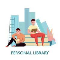 Ilustración de vector de composición plana de biblioteca personal