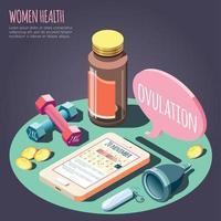Ilustración de vector de concepto de diseño isométrico de salud de las mujeres