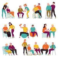 Volunteers Help Elderly Flat Set Vector Illustration