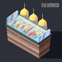 Fish Superfood Counter Isometric Background Vector Illustration