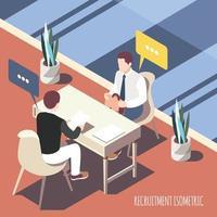 Ilustración de vector de fondo isométrico de entrevista de reclutamiento