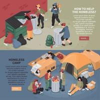 Campamento de personas sin hogar banners horizontales ilustración vectorial vector