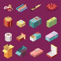 Cardboard Gift Boxes Isometric Set Vector Illustration