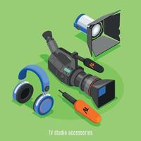 TV Studio Accessories Isometric Background Vector Illustration