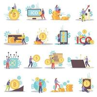 Cryptocurrency Flat Icons Set Vector Illustration