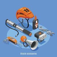 Ilustración de vector de fondo isométrico de accesorios de bicicleta
