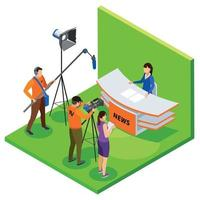 Broadcasting Isometric Composition Vector Illustration