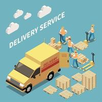 Delivery Isometric Composition Vector Illustration