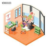 Women Health Isometric Composition Vector Illustration