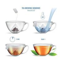 Tea Brewing Sequence Realistic Composition Vector Illustration