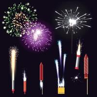 Fireworks Realistic Set Vector Illustration