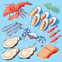 Fish Superfood Isometric Poster Vector Illustration