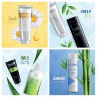 Organic Cosmetics Ingredients Icon Set Vector Illustration