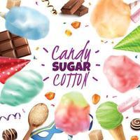 Sugar Cotton Sweets Frame Vector Illustration