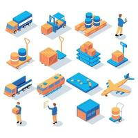 Logistics Delivery Isometric Icons Vector Illustration