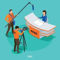 Live News Isometric Background Vector Illustration