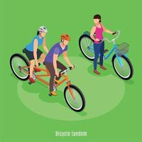 Bicycle Tandem Isometric Background Vector Illustration