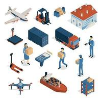 Shipping Isometric Icons Collection Vector Illustration